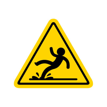 Wet floor sign, isolated vector illustration