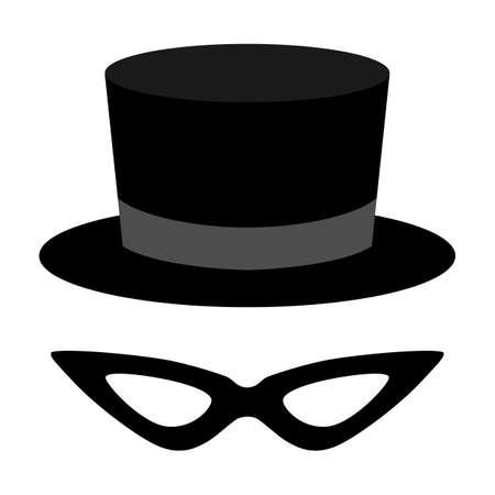 mask icon with tuxedo hat. Vector illustration for web Ilustración de vector