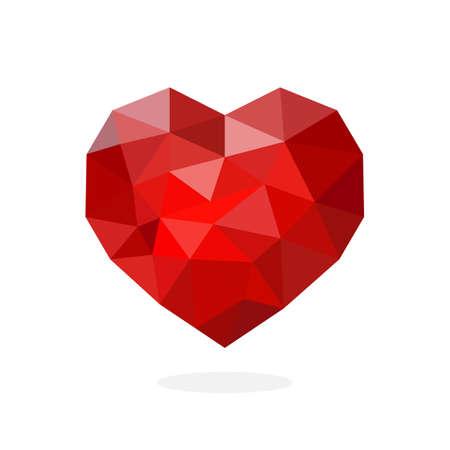 Heart polygon art image. vector illustration