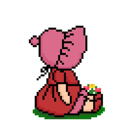 pixel The little girl is sitting. cross stitch pattern vector illustration