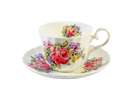 saucer: Decorated china cup