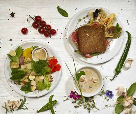 mushroom cream soup and caesar salad