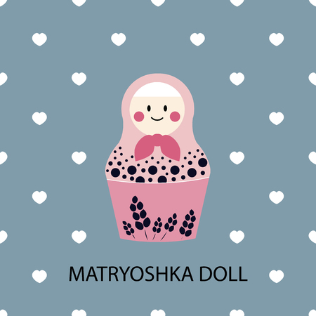 matrioska: Russian traditional matriarchs dolls flat icon set, national symbol, family and traditional values concept art