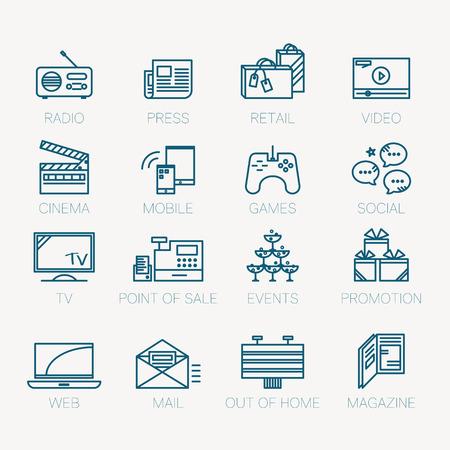 medios de comunicaci�n social: Conjunto de iconos, canal de medios y oportunidades de promoci�n concepto lineal