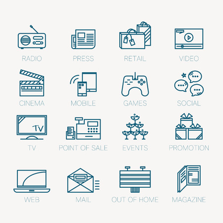 web store: Linear icon set, media channel and promotion opportunity concept
