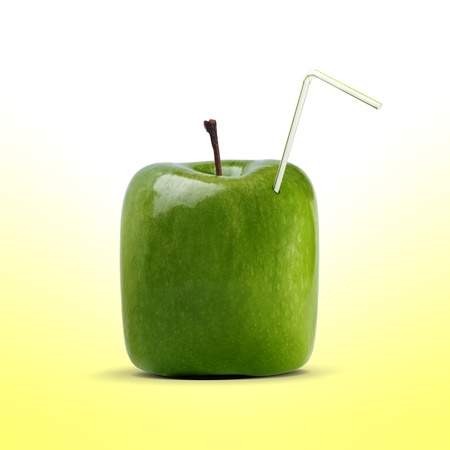 carton shaped apple juice with straw