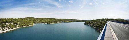 panorama with sea and bridge, croatia Standard-Bild