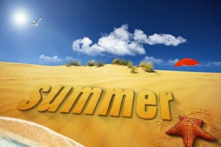 gold coast: summer sand font on sea shore Stock Photo