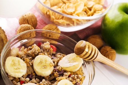 muesli: healthy breakfast composition on the table