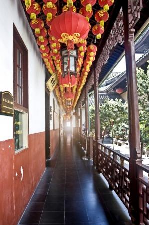 Photo of chinese red paper lantern, photo taken inside the temple Standard-Bild