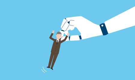 RPA and lay off image,vector illustration,blue background Ilustração