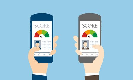 credit score image,holding smart phone,vector graphic,blue background Imagens - 136511728