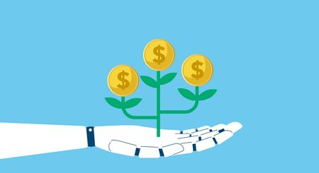 robotics and money image,vector illustration,blue background