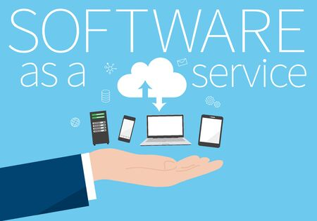 SaaS,Software as a service image,hand holding various device,vector illustration