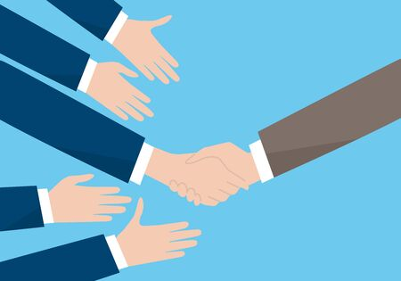 Recruitment image, handshake, with many hand,vector illustration