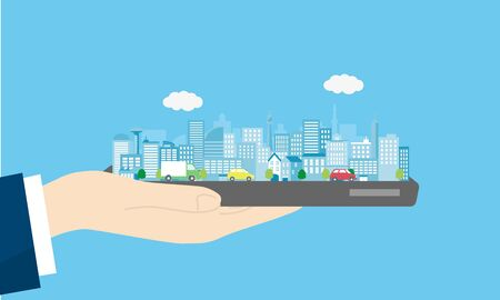 smart city,hand and smartphone,vector illustration