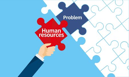 human resource and problem image, puzzle, vector illustration