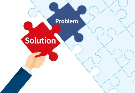 solution and problem image,puzzle,business,vector illustration