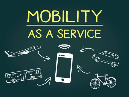 Dessin à la main MaaS, en tant que service de mobilité, sur tableau noir Vecteurs