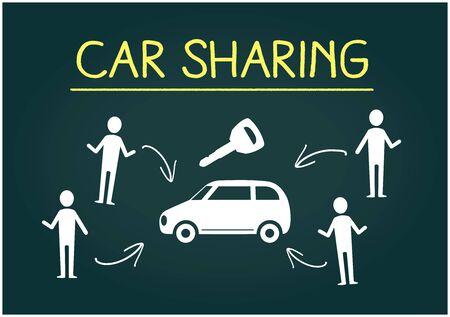Hand Drawing Car sharingimage,on blackboard Stock Vector - 136942718
