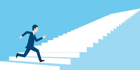 businessimage,runninng businessman,upstair,to the goal,vector illustration,blue background