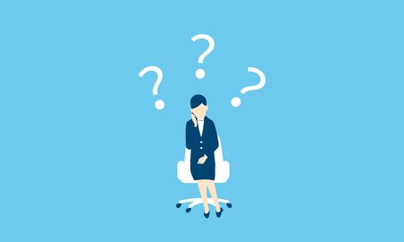 confused businesswoman,whole body,blue background,vector illustration
