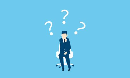 confused businessman,whole body,blue background,vector illustration