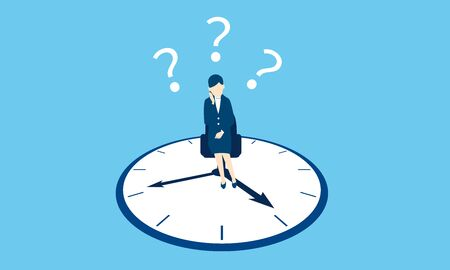 life work balance image, businesswoman and clock, vector illustration, blue background