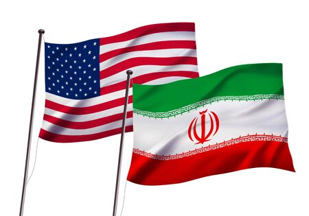 us and iran flag fluttering in the wind,3D illustration Imagens