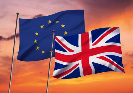 EU and England flag fluttering in the wind,3D illustration on evening sky background