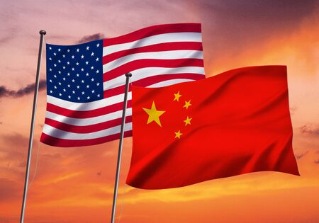 american and chinese flag fluttering in the wind,3D illustration on evening sky background Imagens