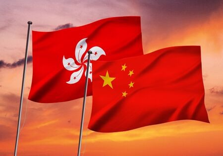 China and Hong-Kong flag fluttering in the wind,3d illustration