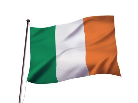 Ireland national flag fluttering in the wind,evening sky Imagens