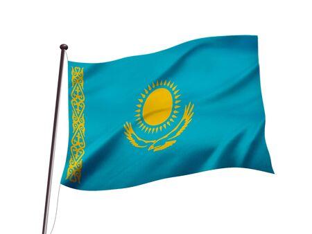 kazakhstan flag fluttering in the wind,3d illustration Imagens - 137664428