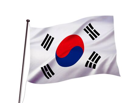 South korean national flag fluttering in the wind