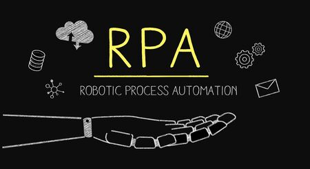 hand drawing rpa image,robotics process automation,on blackboard