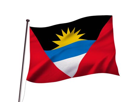 Antigua and Barbuda flag fluttering in the wind,3D illustration