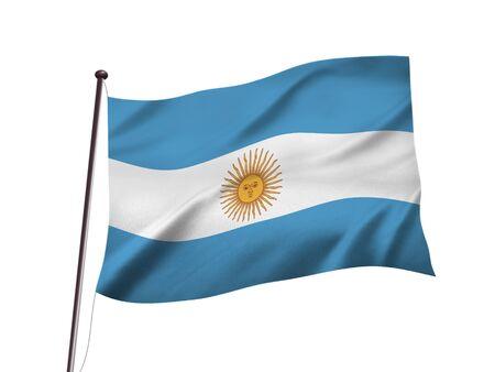 argentina flag fluttering in the wind,3d illustration Imagens - 139626844