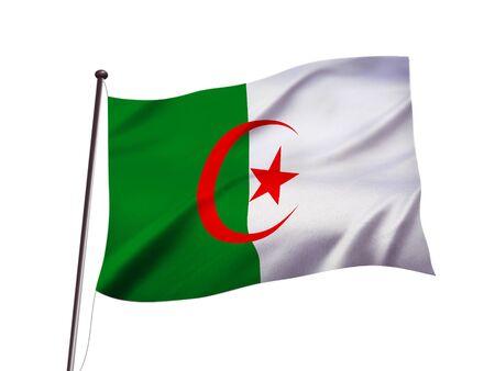 algeria flag fluttering in the wind,3D illustration Imagens - 139626846