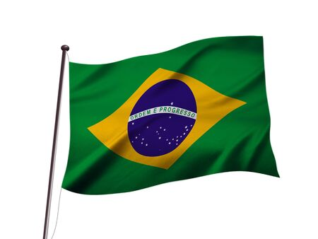 national brazil flag fluttering in the wind,3D illustration,white isolated background