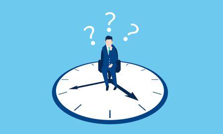 work balance image, businessman and clock, vector image, blue background