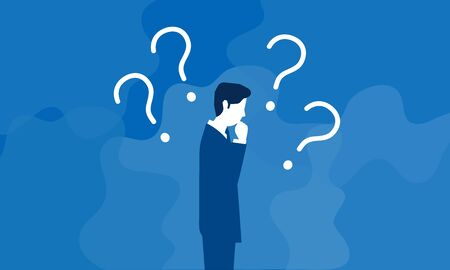 confused businessman,with question mark,vector,blue background Vectores
