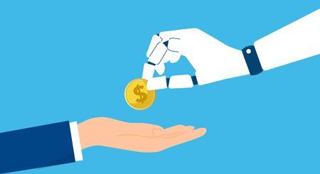 ai robotics,holding us dollar,vector illustration,blue background 일러스트