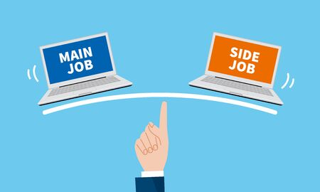 balance of main job and side job image, vector image, blue background