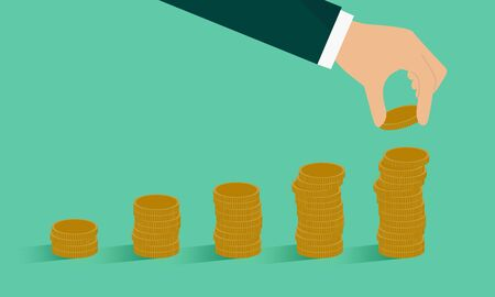 Accumulate money image,hand holding coin,vector,vector,green background