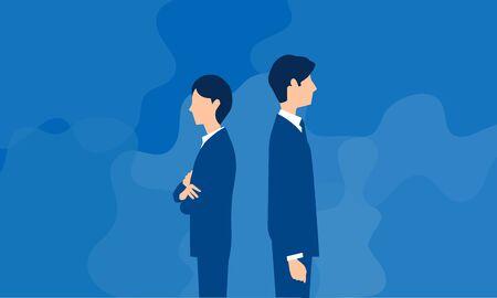 man and woman turning them backs,blue background,flat illustration Illusztráció