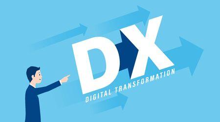 Digitales Transformationsbild, Geschäftsmann stehend, Vektorgrafik, blauer Hintergrund