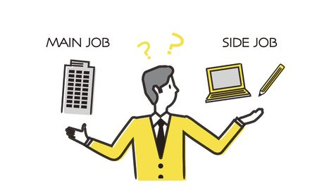 Troubled man between main job and side job,hand drawing illustration,vector illustration