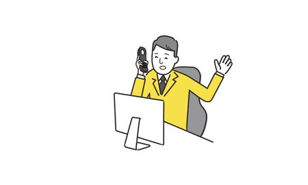 smile businessman in front of the computer,hand holding phone,white isolated,hand drawing illustration Vectores