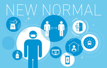 New normal lifestyle image,set of icon,blue background,vector illustration